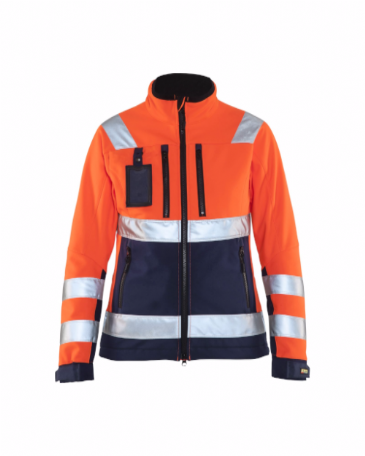 Blaklader 4902 Ladies High Vis Softshell Jacket (Orange/Navy Blue)